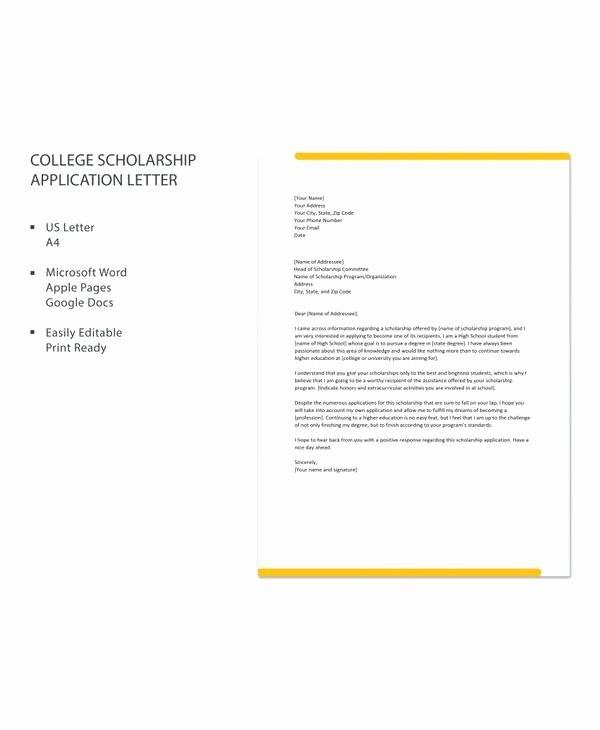 Cover Letter for Scholarship Luxury 10 Sample Scholarship Application Letters Pdf Doc