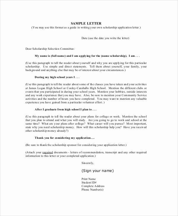 Cover Letter for Scholarship New Cover Letter for College Scholarship Application
