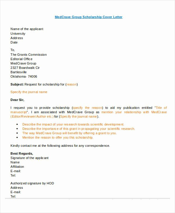 Cover Letter for Scholarship New Letter format 49 Free Word Pdf Documents Download