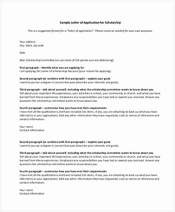 Cover Letter for Scholarship New Scholarship Application Letter