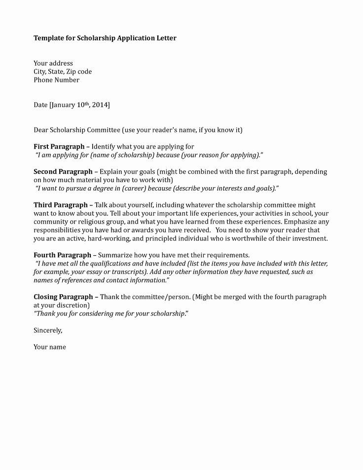 Cover Letter for Scholarship New Scholarship Application Template Sample Application Letter Application Letter Sample