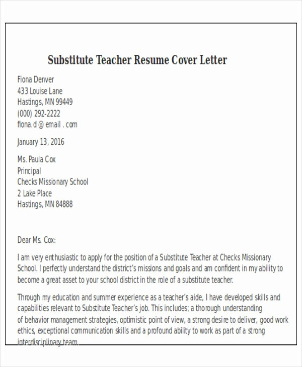 Cover Letter for Substitute Teacher Awesome 25 Teacher Resume Templates In Word