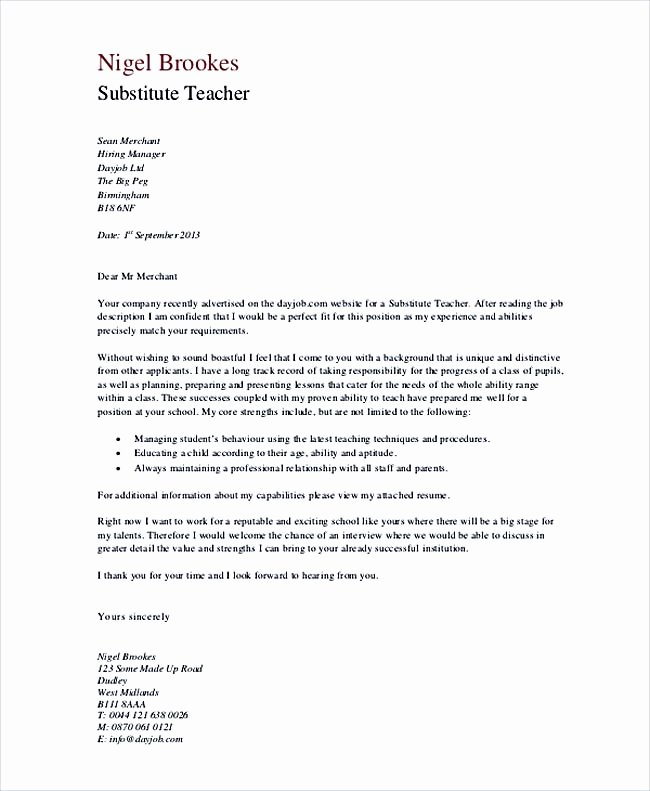 Cover Letter for Substitute Teacher Best Of Teaching Cover Letter Examples for Successful Job Application