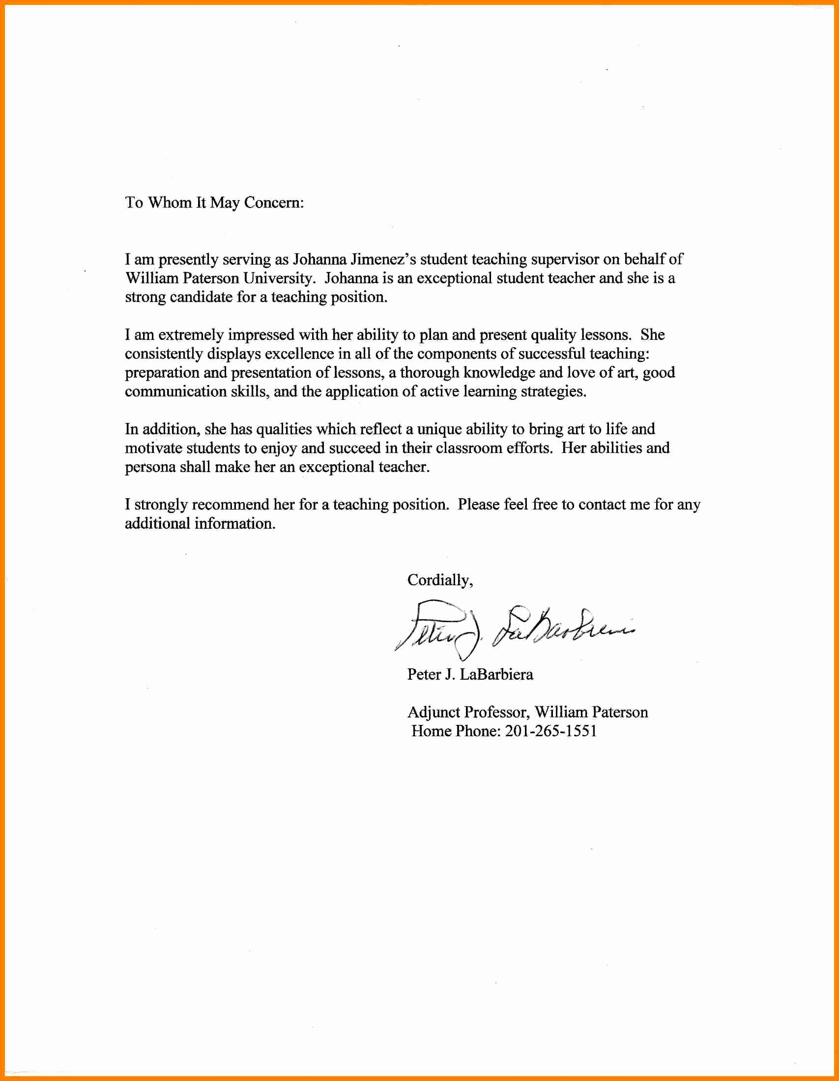 Cover Letter for Substitute Teacher Elegant 12 Letter Of Re Mendation for Substitute Teacher