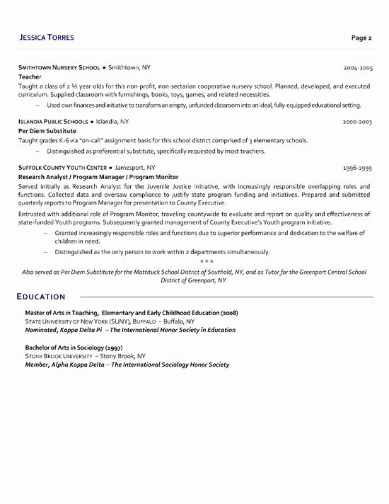 Cover Letter for Substitute Teacher Fresh Substitute Teacher Resume Example