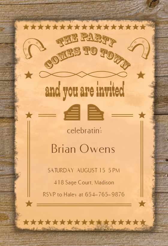 Cowboy Invitations Template Free Beautiful Western Style Birthday Invitation Template Free