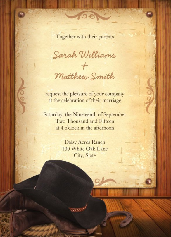Cowboy Invitations Template Free Elegant 28 Western Wedding Invitation Templates – Free Sample