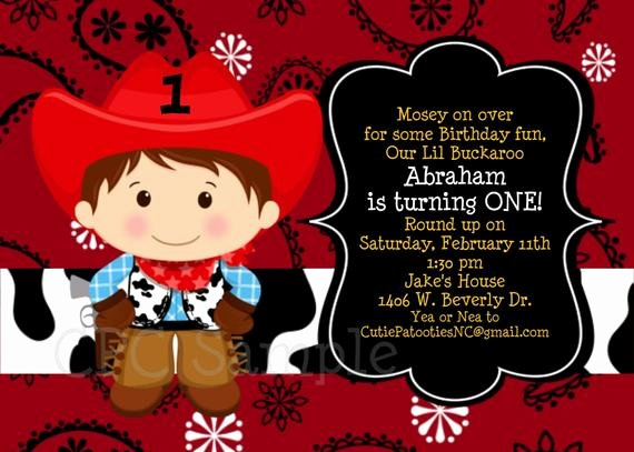 Cowboy Invitations Template Free Fresh Cowboy Birthday Invitation 1st Birthday Cowboy Party