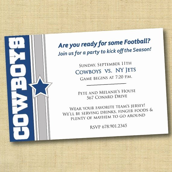 Cowboy Invitations Template Free Lovely Items Similar to Dallas Cowboys Football Party Invitation