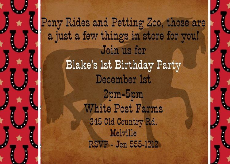 Cowboy Invitations Template Free New Cowboy Horse Birthday Invitations