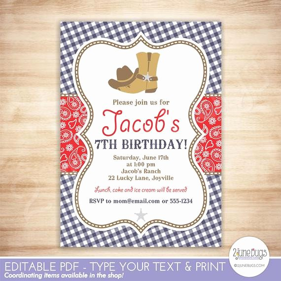Cowboy Invitations Template Free Unique Cowboy Birthday Party Invitation Template Red Blue Paisley