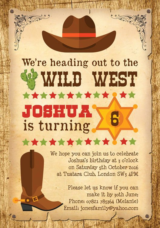 Cowboy Invitations Template Free Unique Cowboy Wild West Birthday Party Invitation From £0 80 Each