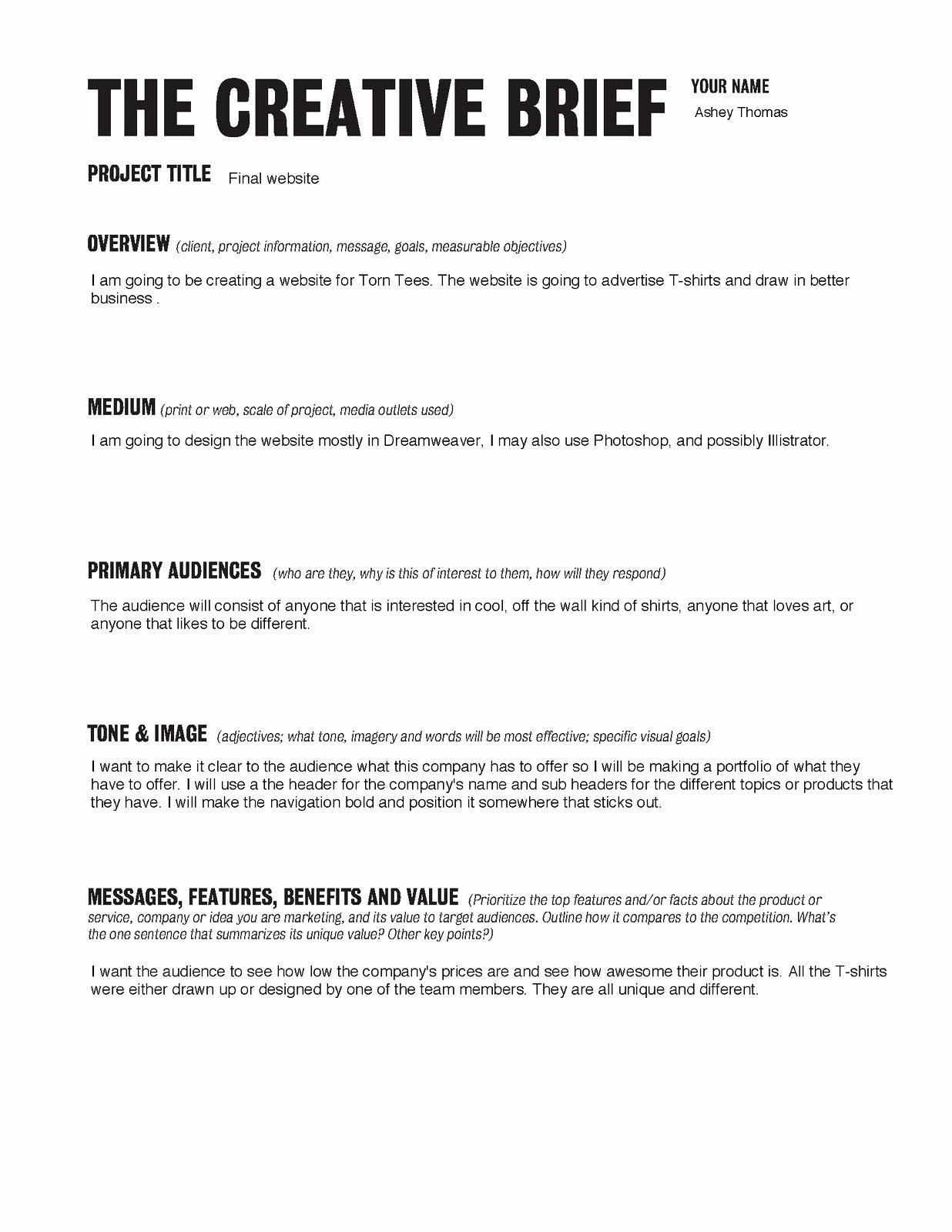 creative brief template pdf