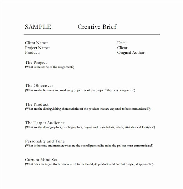 Creative Brief Sample Pdf Elegant Sample Creative Brief 9 Free Documents In Pdf Word