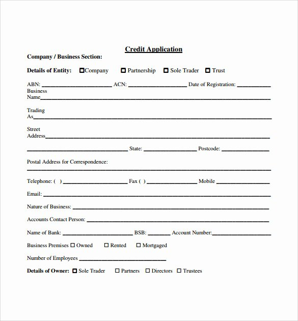 Credit Application form Pdf Best Of Credit Application forms 9 Documents Free Download In Pdf Word
