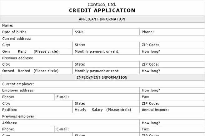 Credit Application form Pdf Fresh Credit Application form