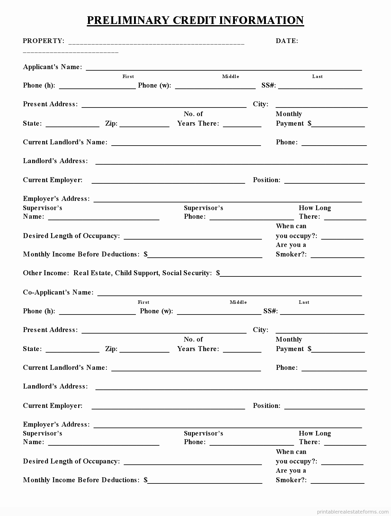 Credit Application form Pdf Lovely Free Printable Preliminary Credit Application form Pdf
