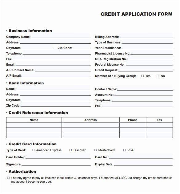 Credit Application form Pdf Luxury Credit Application forms 9 Documents Free Download In Pdf Word