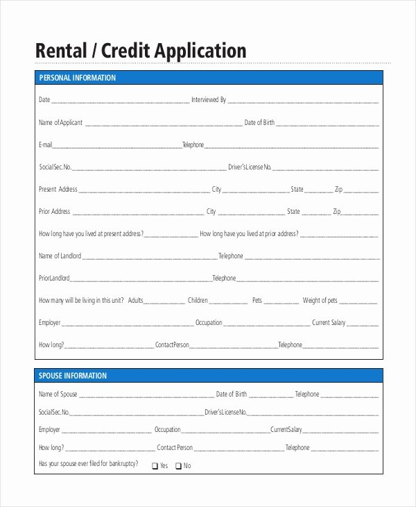 Credit Application form Pdf Luxury Free 8 Sample Rental Application forms In Pdf