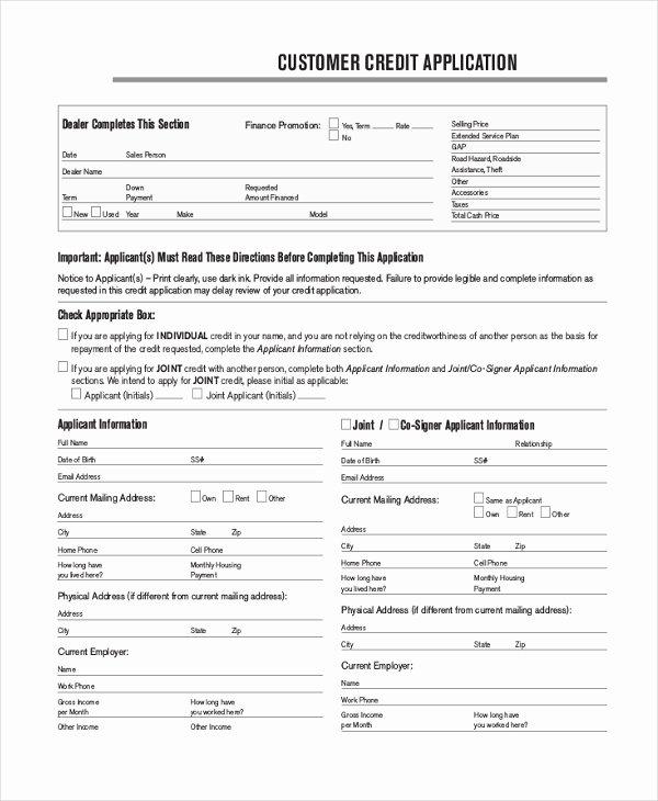 Credit Application form Pdf New Free 10 Credit Application form Samples