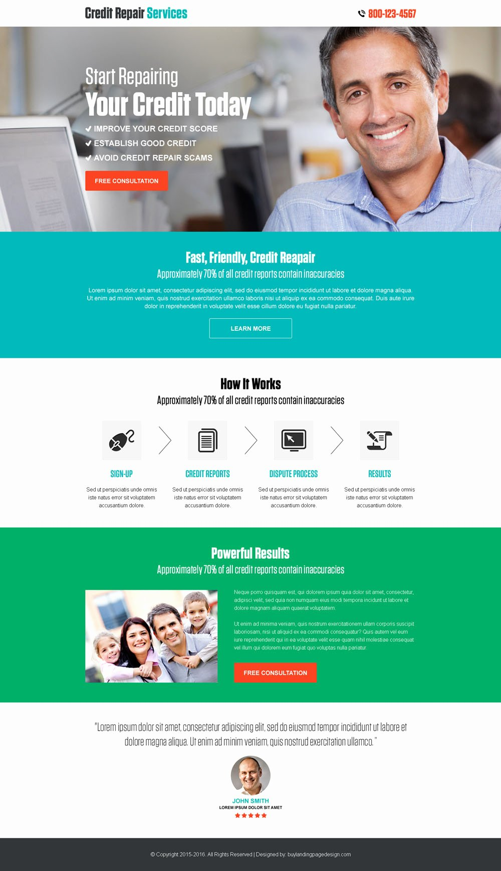 Credit Repair Flyer Template Awesome Responsive Credit Repair Free Consultation Landing Page