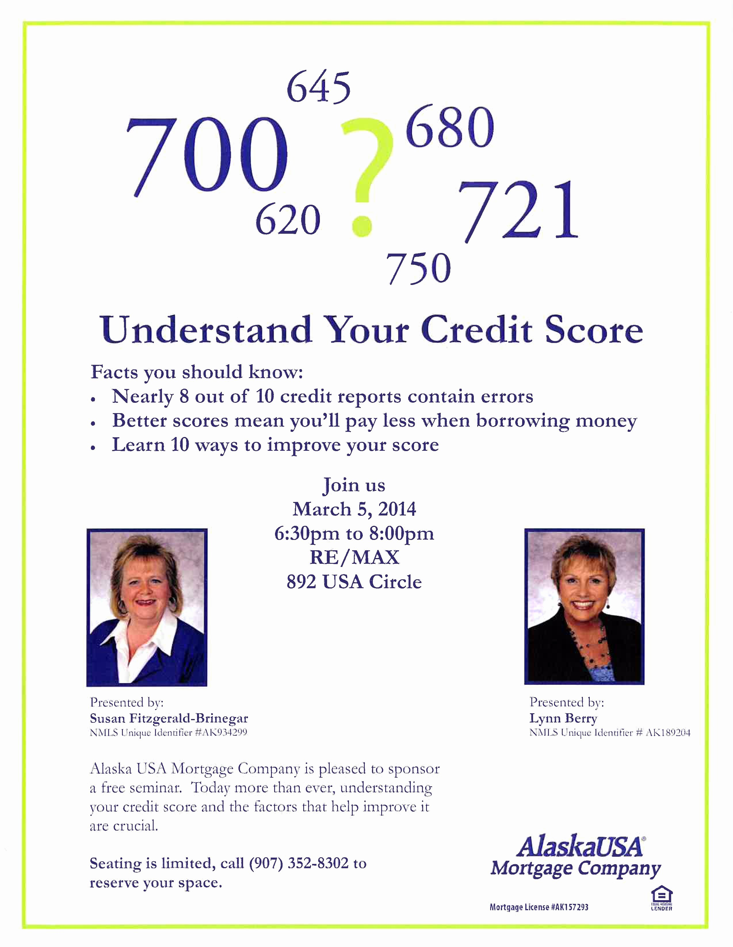 Credit Repair Flyer Template Lovely Understand Your Credit Score Free Seminar Mat Su Valley