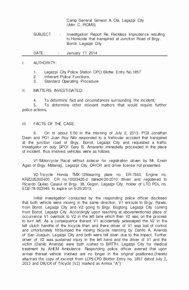 Crime Scene Report Example Elegant Police Investigation Report Template