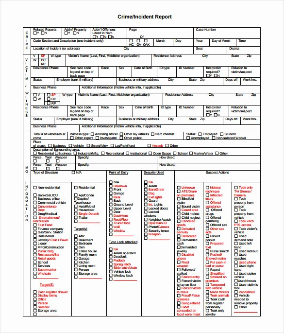 Crime Scene Report Example Fresh 11 Sample Crime Reports Pdf Word