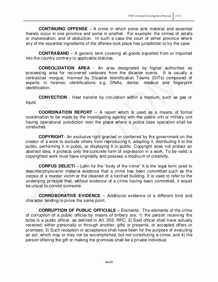 Crime Scene Report Example Luxury Philippine National Police Criminal Investigation Manual