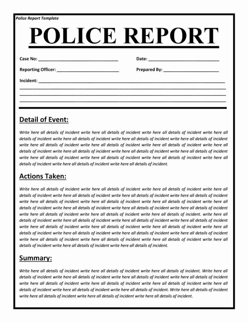 Crime Scene Report Template Awesome Police Report Templates 8 Free Blank Samples Template Section