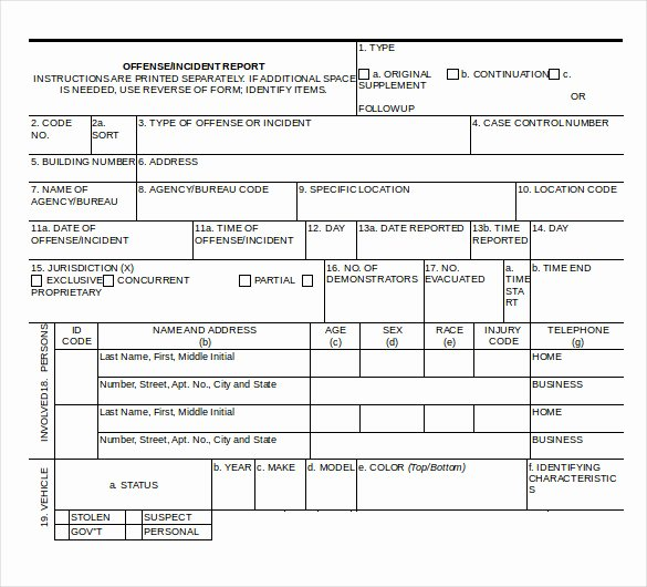 Crime Scene Report Template Beautiful Police Report Templates 8 Free Blank Samples Template Section