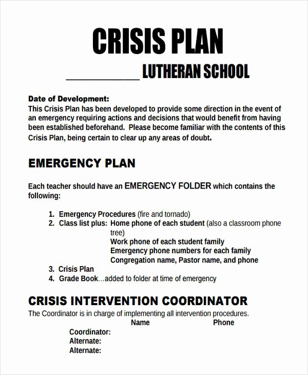 Crisis Management Plan Examples Unique 11 Crisis Plan Templates Sample Word Google Docs Apple Pages Example format Download