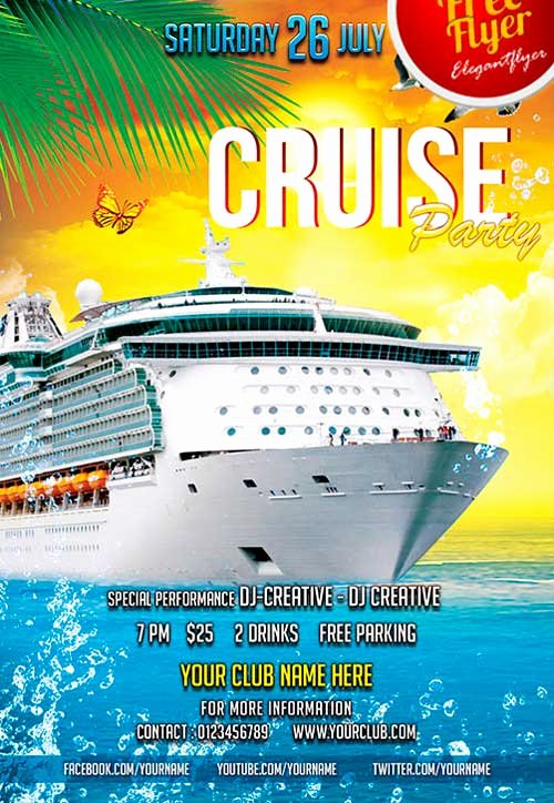 Cruise Flyer Template Free Luxury Download Free Cruise Party Psd Flyer Template