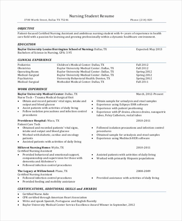 Current Nursing Student Resume Beautiful Sample Nursing Student Resume 8 Examples In Word Pdf