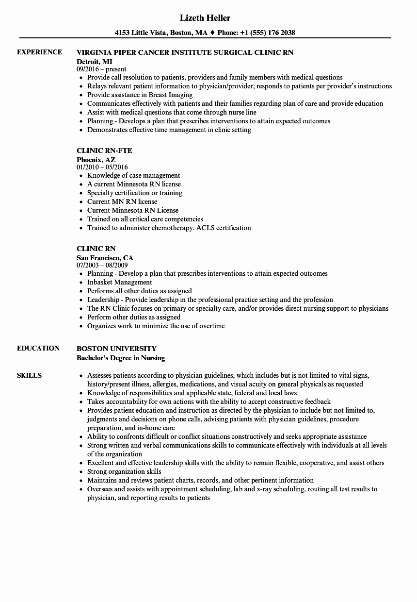 Current Nursing Student Resume Best Of Clinic Rn Resume Samples