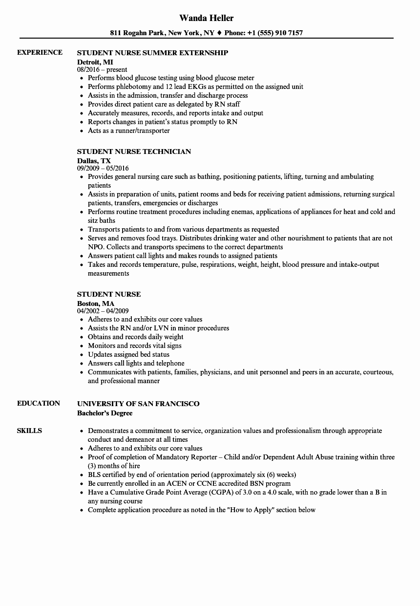 Current Nursing Student Resume Elegant Student Nurse Resume Samples