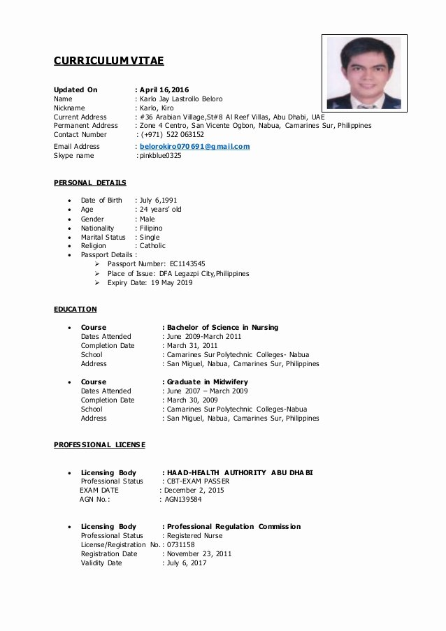 Current Nursing Student Resume Unique Cv Haad Rn