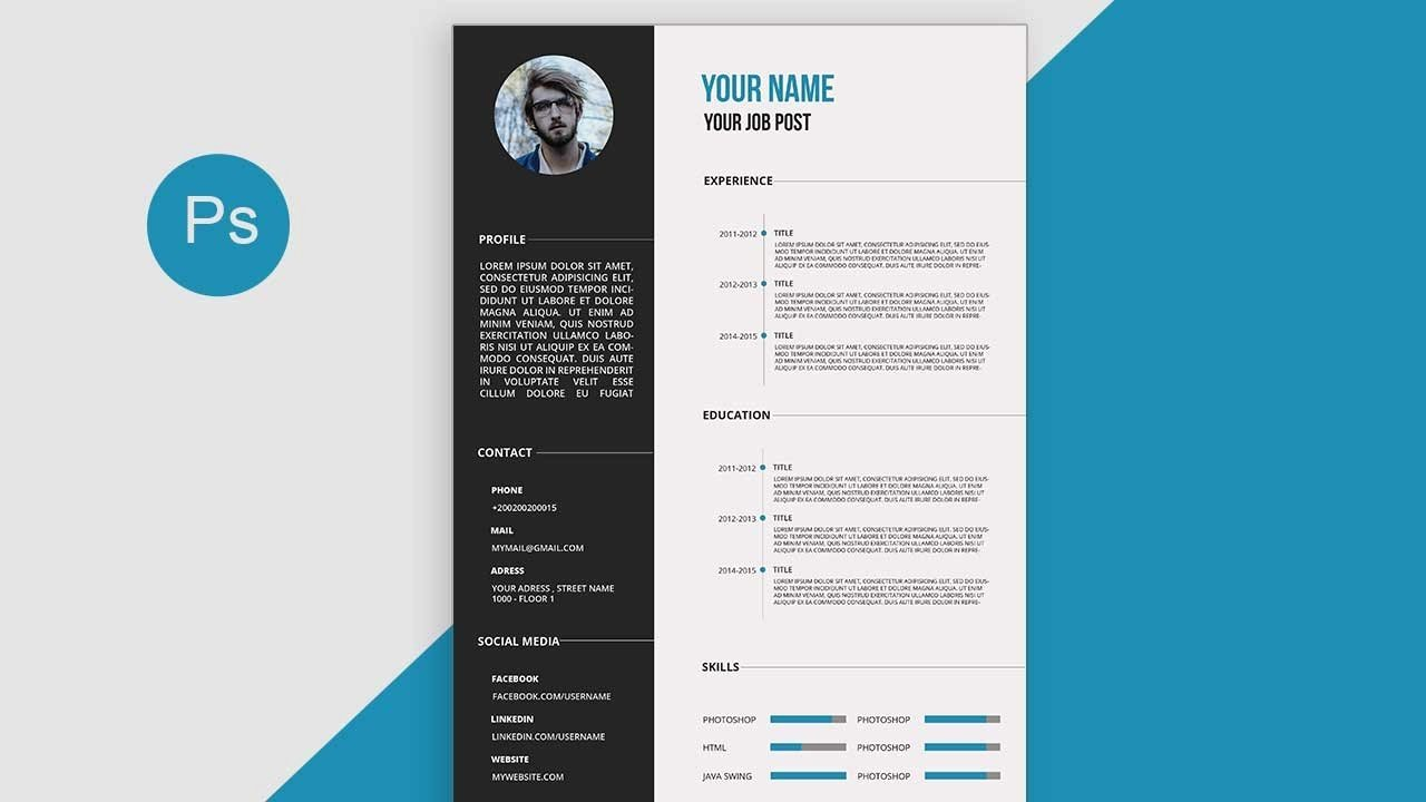 Curriculum Vitae Examples Pdf Best Of Cv Resume Template Design Tutorial with Shop Free Psd Docs Pdf