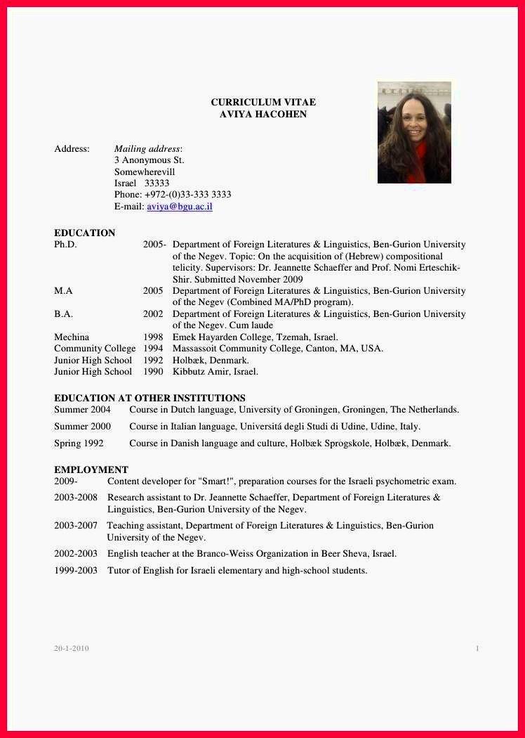 Curriculum Vitae Examples Pdf Elegant Curriculum Vitae Sample for Fresh Graduate Resume Template