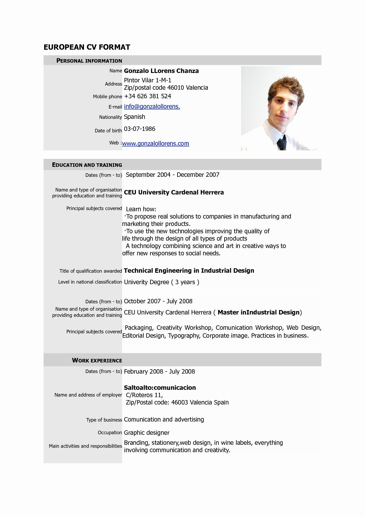 Curriculum Vitae Examples Pdf Elegant Free Download Cv Europass Pdf Europass Home European Cv format Pdf 6