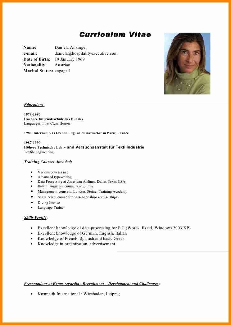 Curriculum Vitae Examples Pdf Fresh 15 Curriculum Vitae English format Receipts Template
