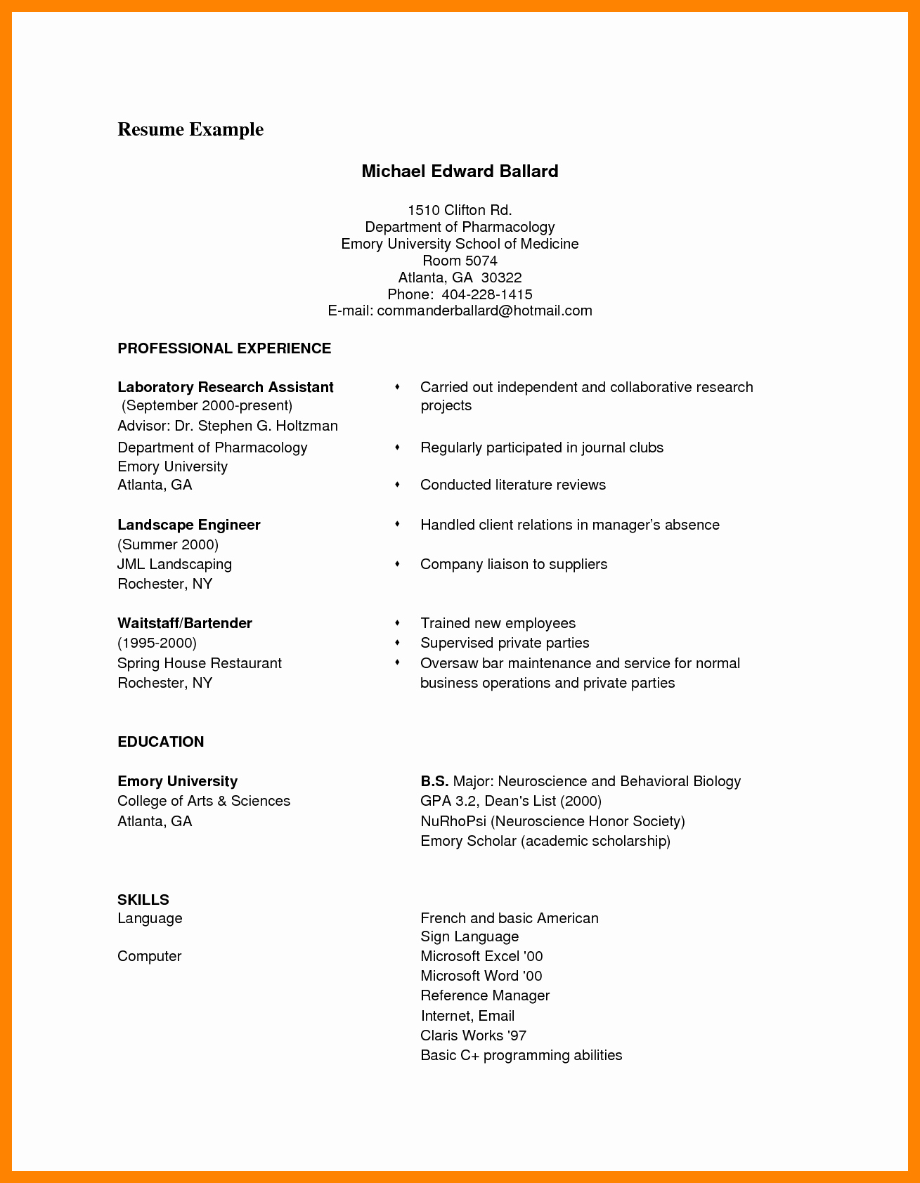 Curriculum Vitae Examples Pdf Fresh 9 Cv format Samples Pdf