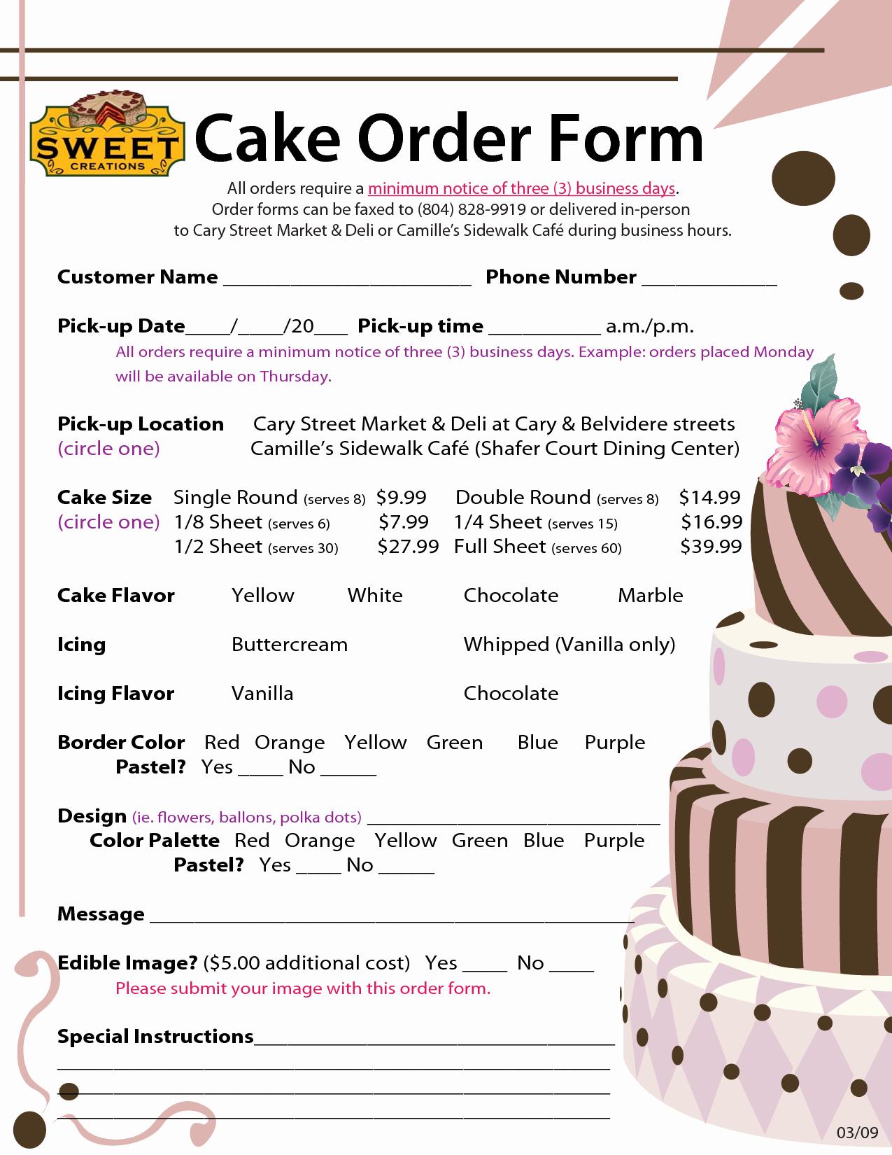 Custom Cake order form Elegant order forms Cake Negocios Pinterest