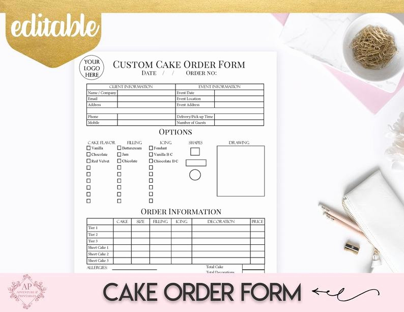 Custom Cake order form Lovely Custom Cake order form Bakery forms Cake order form Baking