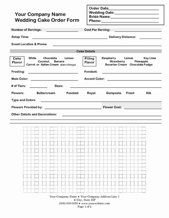 Custom Cake order form Lovely Wedding Cake Contract Template Idea In 2017
