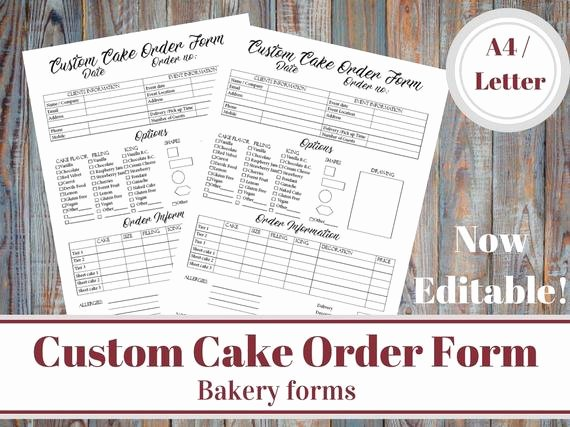 Custom Cake order form New Custom Cake order form Bakery forms Cake order form Baking