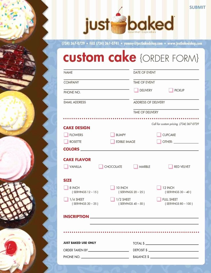 Custom Cake order form New Just Baked Makes Custom Cakes Time for Business