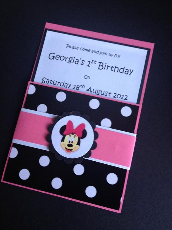 Custom Minnie Mouse Birthday Invitations Beautiful Items Similar to Handmade Pink Black Minnie Mouse Party Invitations & Envelopes Birthday Set