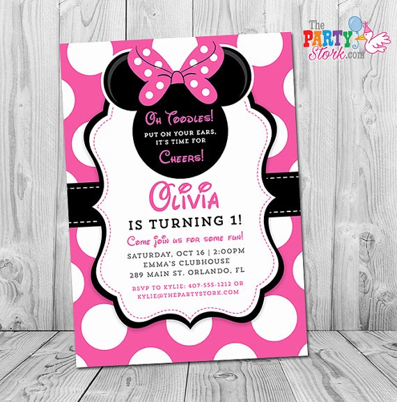 Custom Minnie Mouse Birthday Invitations Beautiful Minnie Mouse 1st Birthday Invitations Printable Girls Party