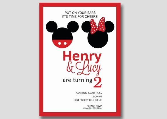Custom Minnie Mouse Birthday Invitations Best Of Mickey & Minnie Mouse Birthday Invitation Custom Diy